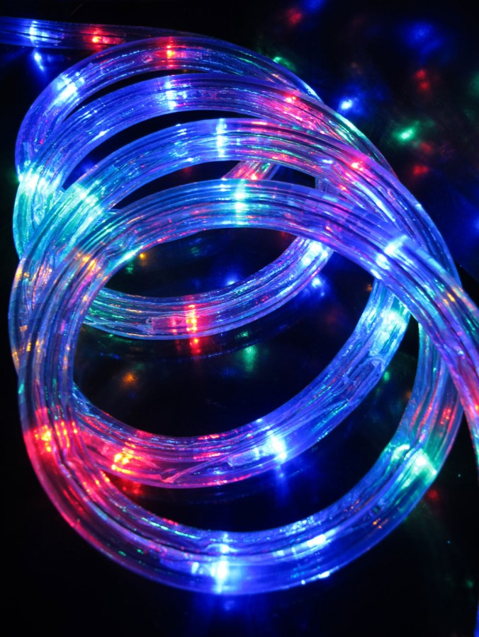 multi colour led tube rope light 30m