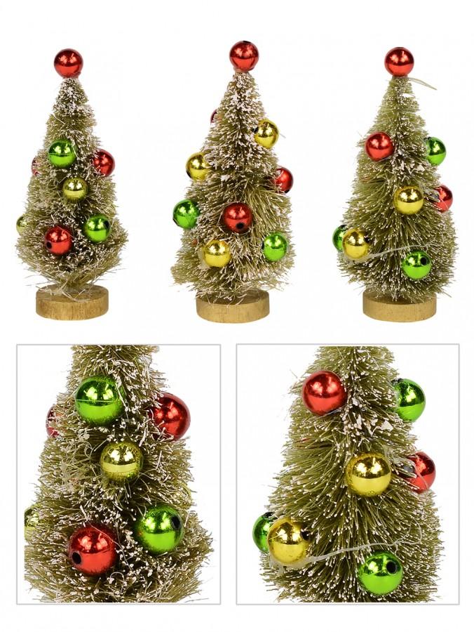 Winter Pine Tree Bauble Decorated Figurines - 3 x 11cm
