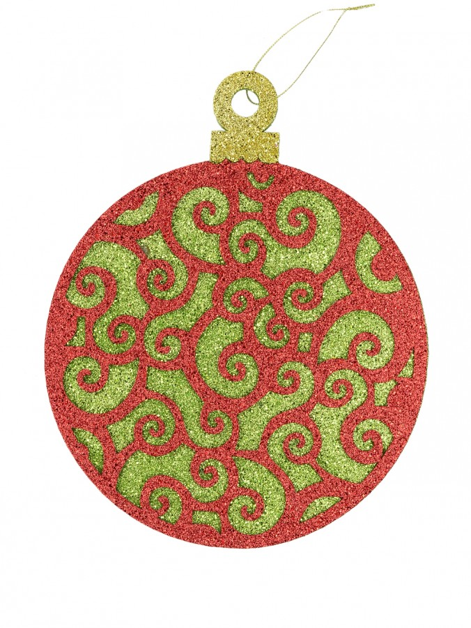 Red & Green Filligree Bauble Hanging Decoration - 30cm