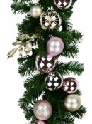 Champagne & Pink Bauble Decorated Garland With Ribbon - 2.7m
