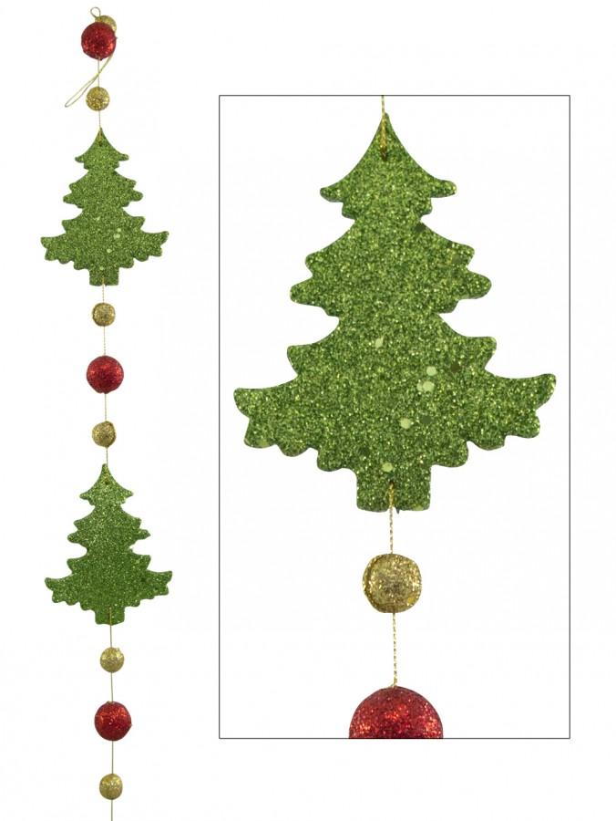 Green Christmas Tree String Garland - 1.8m