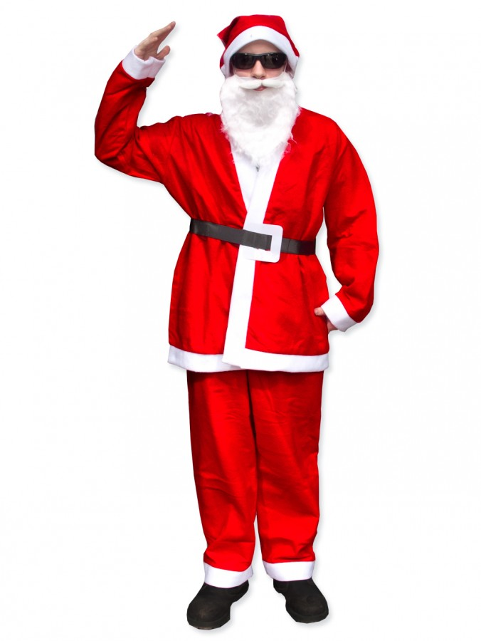 Budget 5 Piece Full Santa Suit Kit - One Size Fits Most