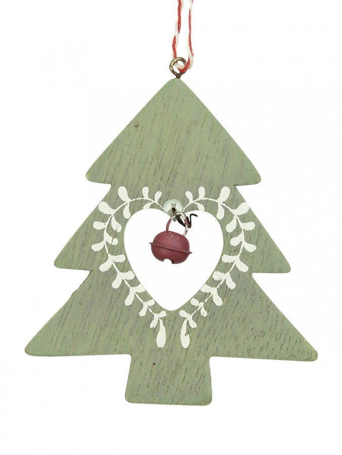 Wooden Green Tree With Red Bell Hanging Ornament - 10cm