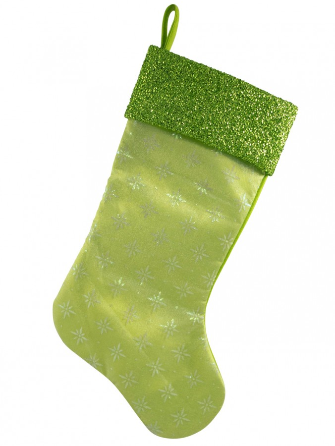 Lime Green Snowflake Design Stocking - 44cm