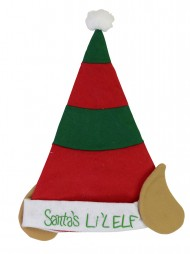 2cab6b87f4490 Childrens Felt Elf Hat In Red   Green With Ears - 40cm. The Christmas  Warehouse