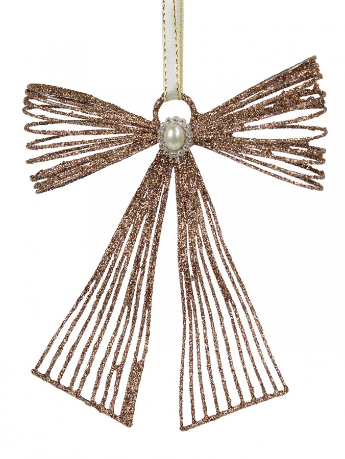 Pink Glitter Metal Ribbon Hanging Ornament With Pearl Embellishment - 12cm