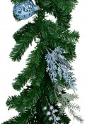 Decorated Blue Poinsettia, Pine Cone, Foliage & Baubles Pine Garland - 2.7m
