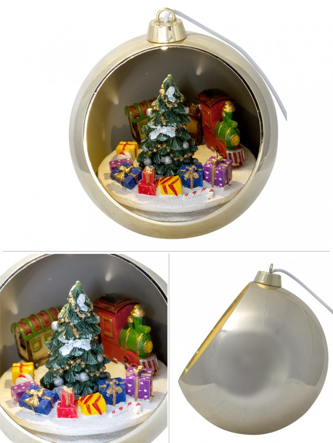 Christmas Musical Scenes Ornaments Part - 23: Illuminated, Rotating U0026 Musical Gold Bauble With Train Scene - 12cm