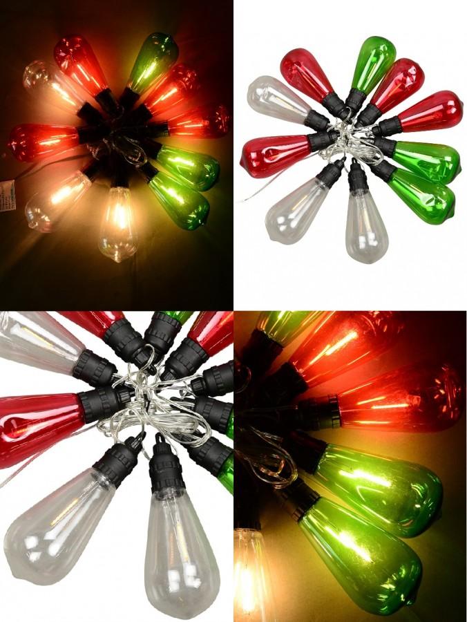 10 Incandescent Red, Green & Transparent Bulb Solar String Lights - 1.5m