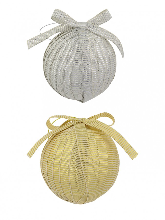 Silver & Gold Ribbon Covered Baubles With Bow - 2 x 80mm