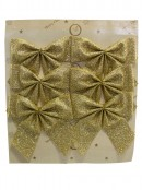 Gold Glittered Christmas Bow Decorations - 6 x 80mm
