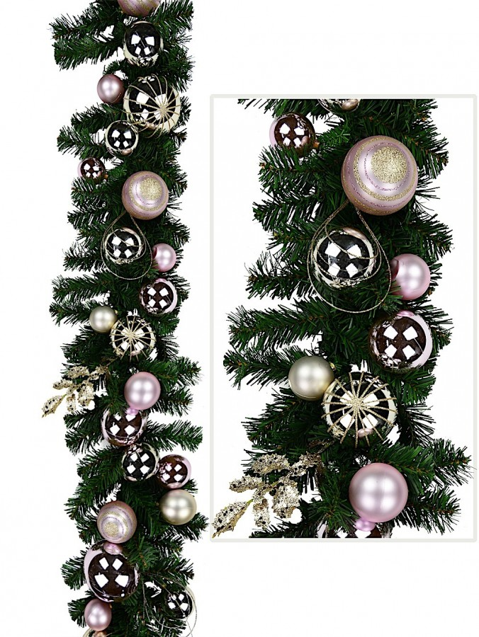 Champagne And Pink Traditional Garland With Ribbon - 2.7M