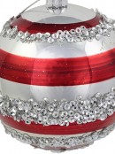 Red & Silver Striped Baubles With Silver Sequin Detail - 4 x 80mm