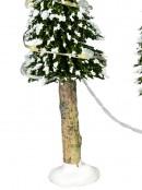 Snow Flocked Illuminated Pine Tree Christmas Village Figurines - 3 x 19cm