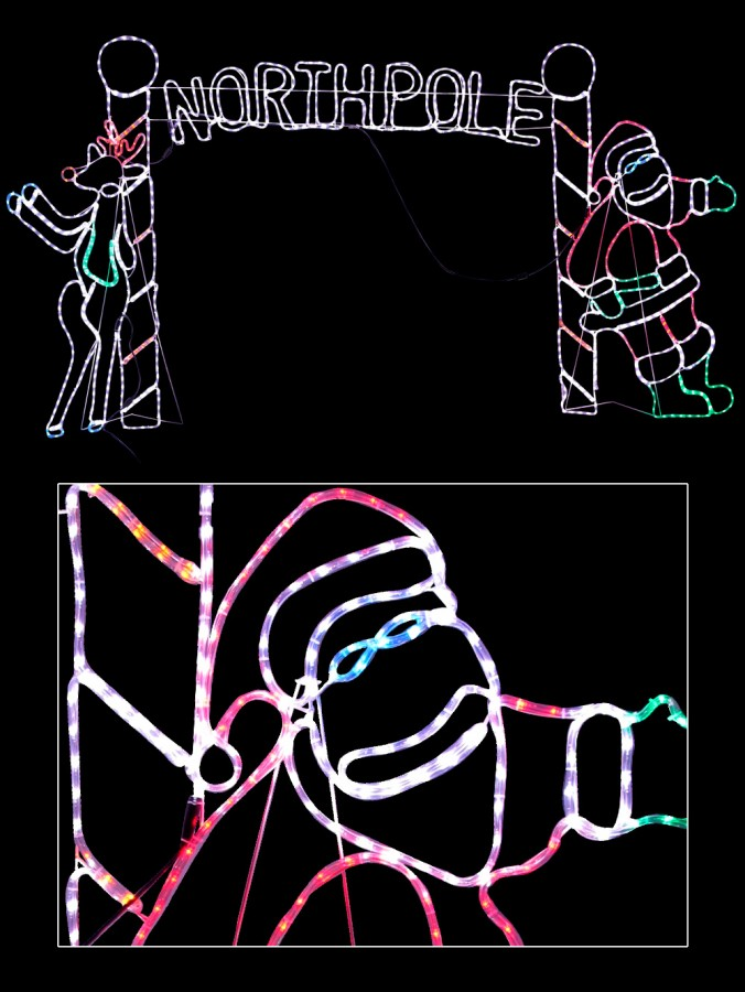 Santa & Deer North Pole Archway LED Rope Light Silhouette - 2.3m