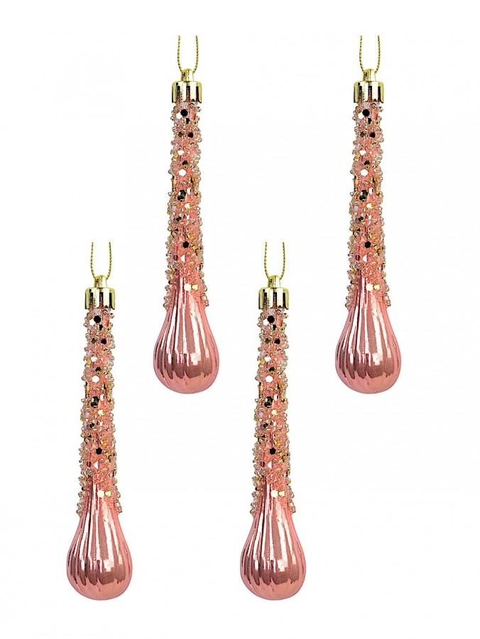 Blush Pink Icicle Teardrop Hanging Ornaments - 4 x 12cm
