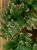 Balsam Pine Wreath With 132 Gold Glittered Tips & Pine Cones - 56cm