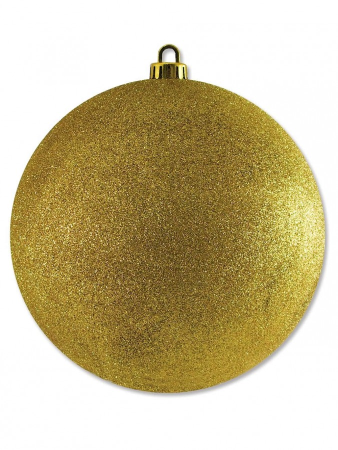 Large Display Glittered Gold Bauble - 20cm