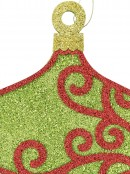 Green & Red Filigree Onion Bauble Shape Hanging Display Decoration - 31cm