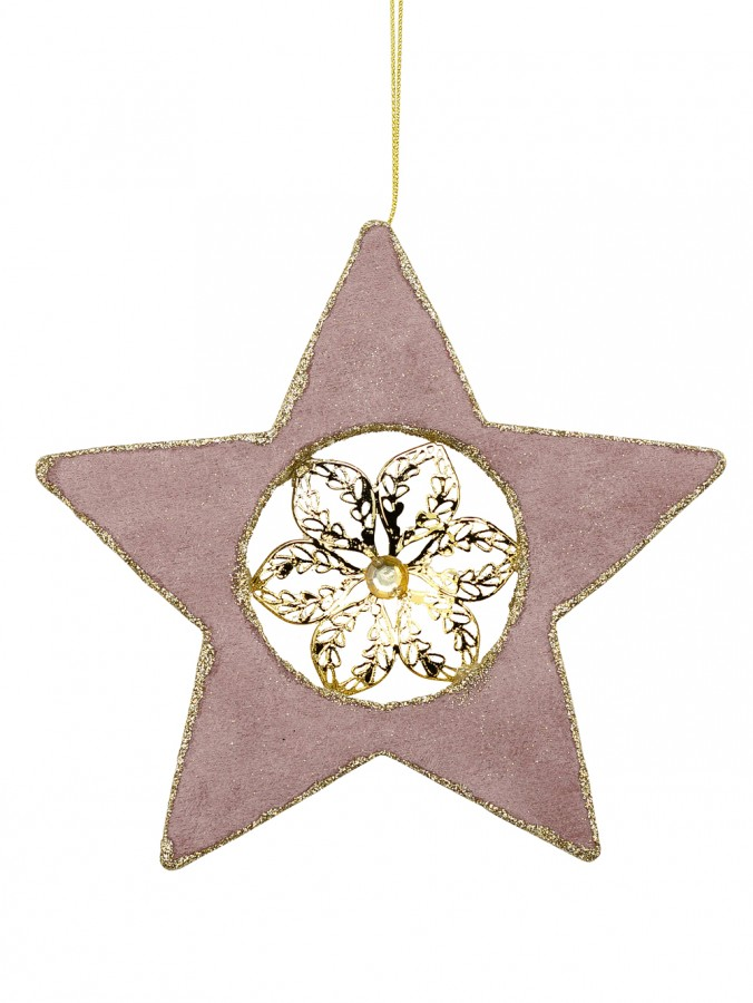 Dusty Pink Velvet Star With Poinsettia Centre Hanging Decoration - 16cm