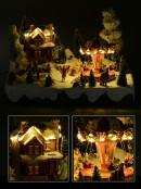 Village with Child, Animated, Musical & Illuminated - 38cm