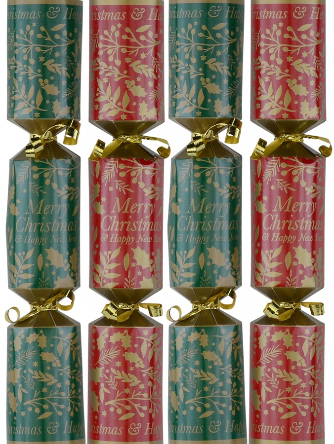 Green & Red With Gold Mixed Foliage Christmas Cracker Bon Bons - 50 x 26cm