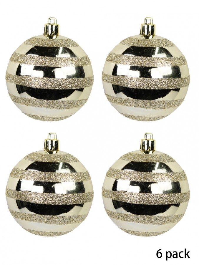 Champagne Gloss Baubles With Glitter Stripes - 6 x 70mm