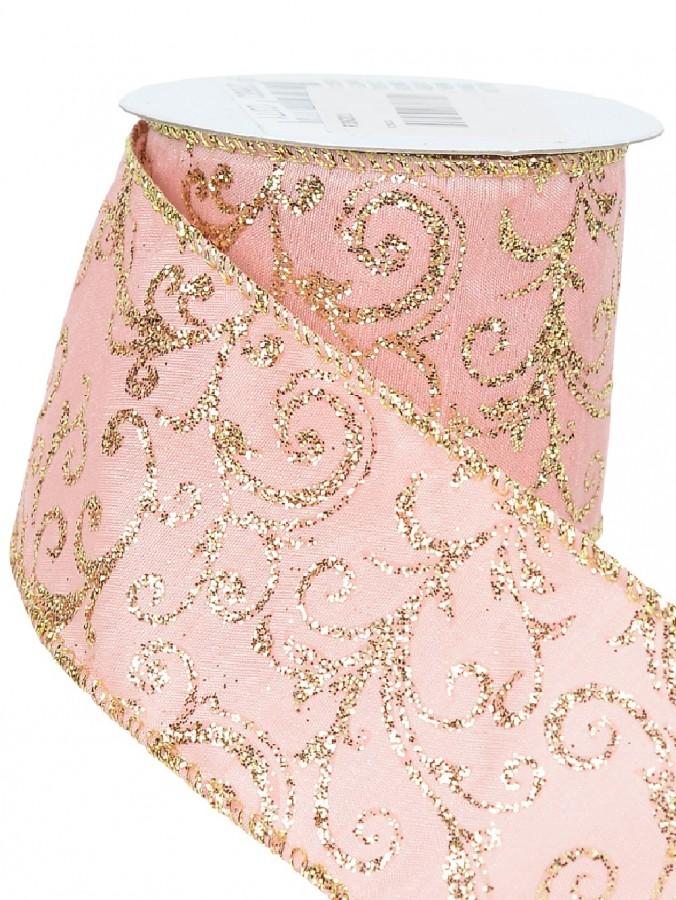 Gold Glittered Edged & Filigree Pattern Pink Fabric Christmas Ribbon - 3m