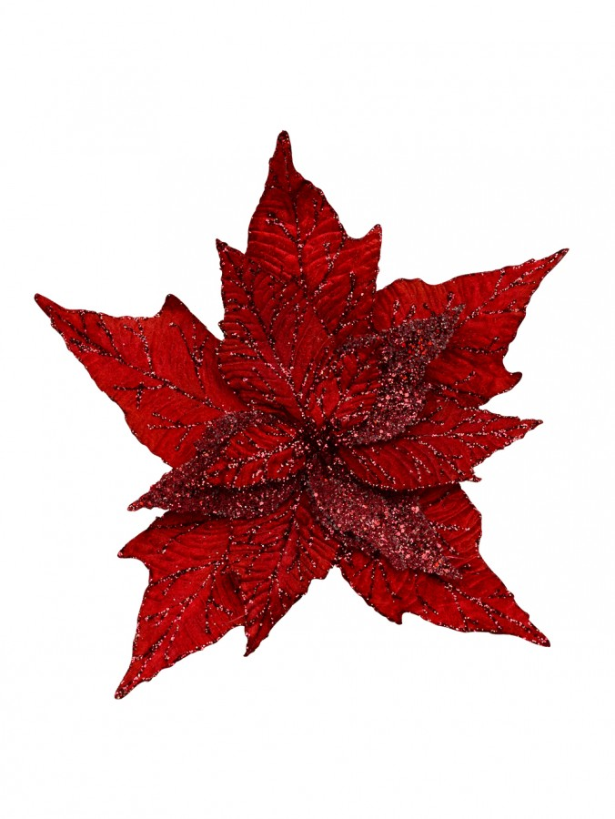 Luxe Red Poinsettia Pick With Dew Like & Glittered Fabric Leaves - 33cm