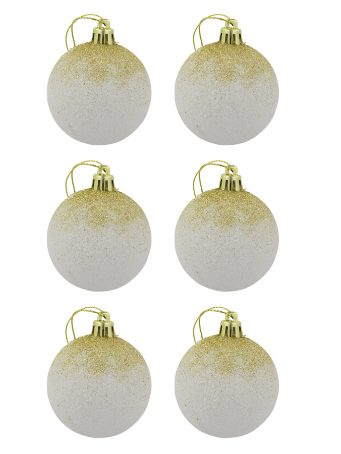 White With Gold Glitter Cascading Baubles - 6 x 60mm