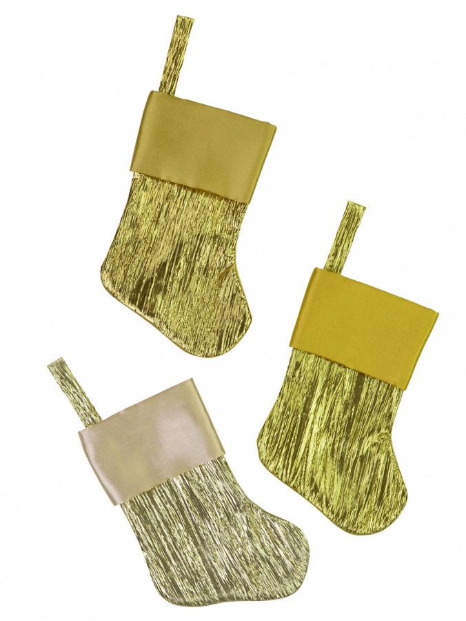 Gold & Champagne Pleated Mini Stockings With Satin Cuff - 6 x 15cm