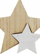 Natural & White Wooden Stars Christmas Tree Hanging Decoration - 10cm