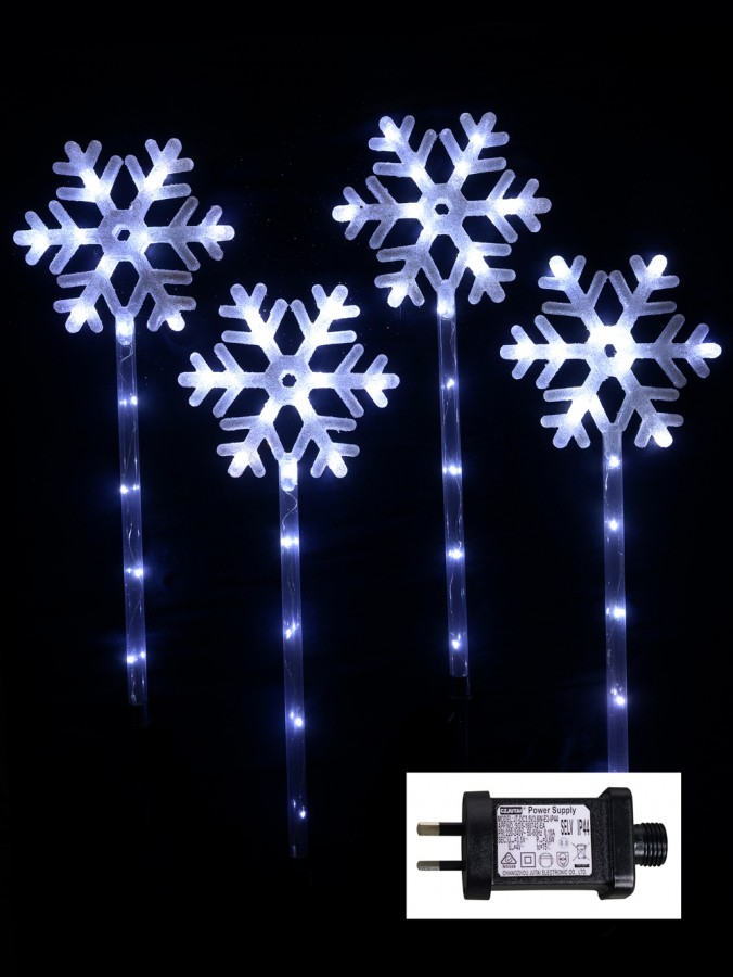 4 Cool White Snowflake Garden Path Lights - 1.5m