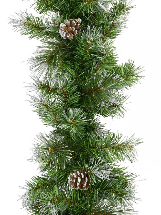 Green Pine Needle Garland With 180 Silver Glittered Tips & Pine Cones - 2.7m