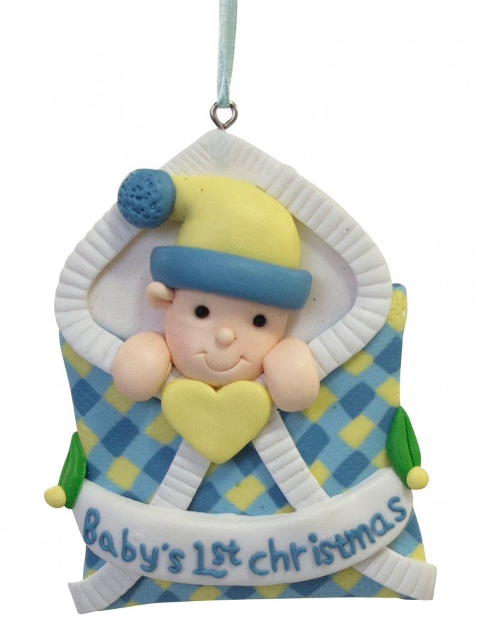 Blue Baby's 1st Christmas Clay Dough Hanging Ornament - 90mm