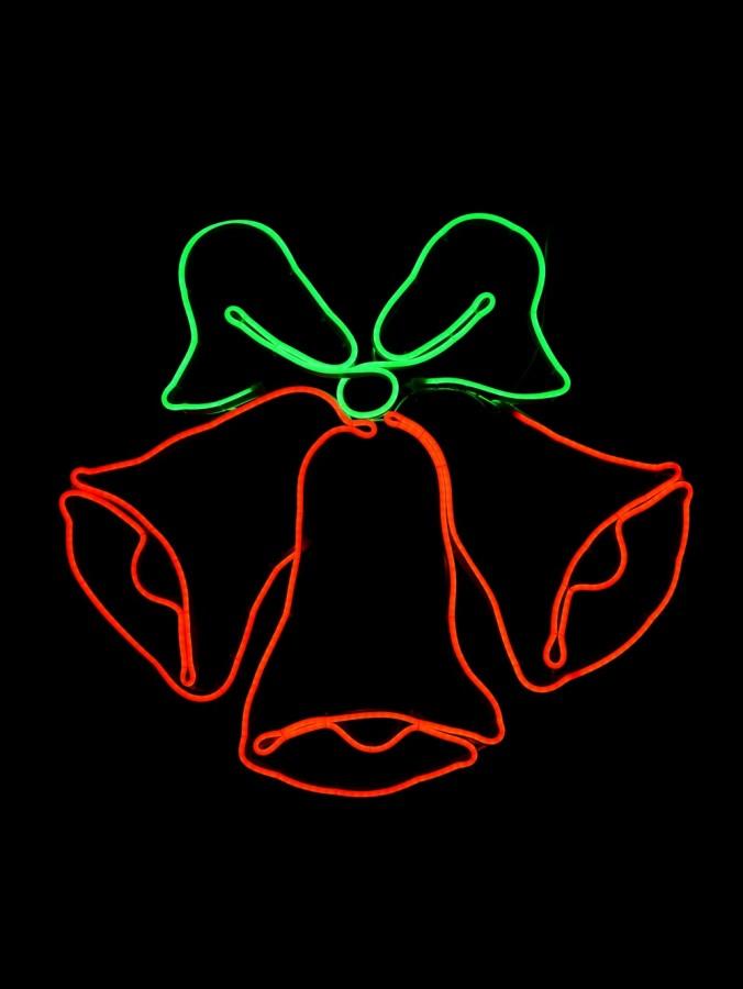 Red & Green Jingle Bells Neon Rope Light Silhouette - 78cm