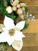 Pre-Decorated White Poinsettia, Mistletoe, Berries & Baubles Pine Wreath - 45cm