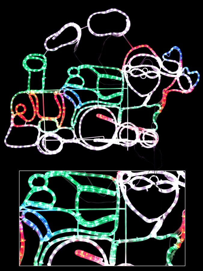 Santa steam train led rope light silhouette 12m christmas santa steam train led rope light silhouette 12m aloadofball Choice Image