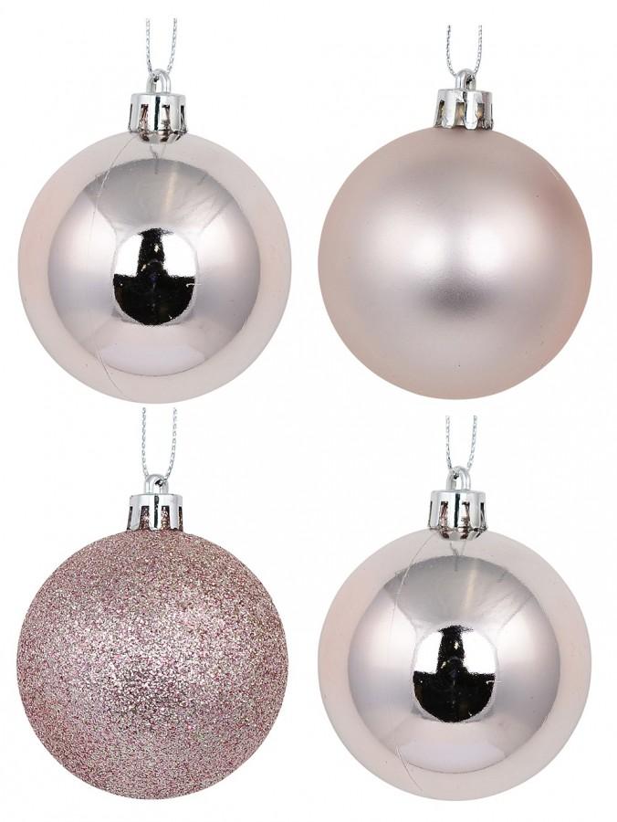 Pink Glittered, Matte & Metallic Baubles - 12 x 60mm