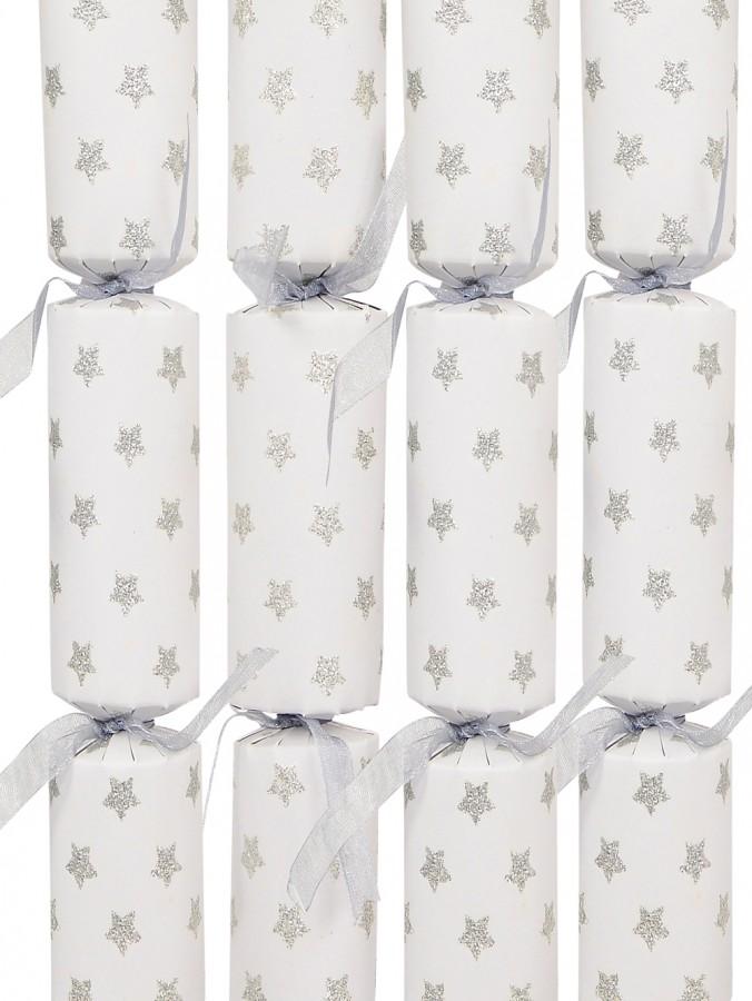 White With Silver Stars Bon Bons - 20cm x 8 Pack