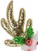 Gold Sequin Reindeer Antlers With Mistletoe, Bell & White Fluff Trim - 22cm