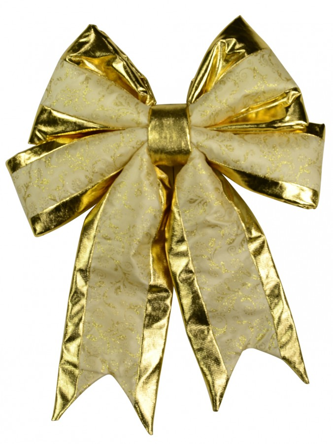 Large Gold Velvet Bow Decoration With Champagne Stripe - 50cm