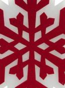 Red & White Snowflake Dacron Hanging Motif - 35cm