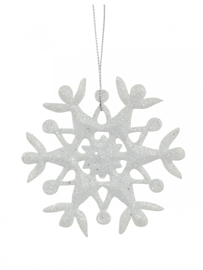 Frosted Glittered Snowflake Hanging Ornament - 90mm