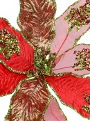 3 Style Red With Green Trim Decorative Poinsettia Floral Pick - 18cm