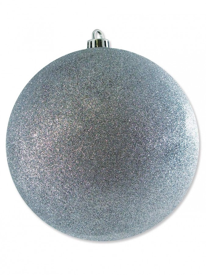 Large Display Glittered Silver Bauble - 20cm