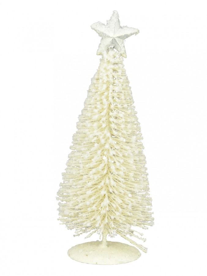 White Iron Christmas Tree With Snow Dust & Star Table Top Ornament - 19cm