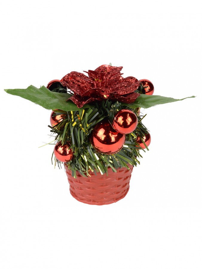 Red Woven Basket With Red Baubles & Flower Standing Ornament - 10cm
