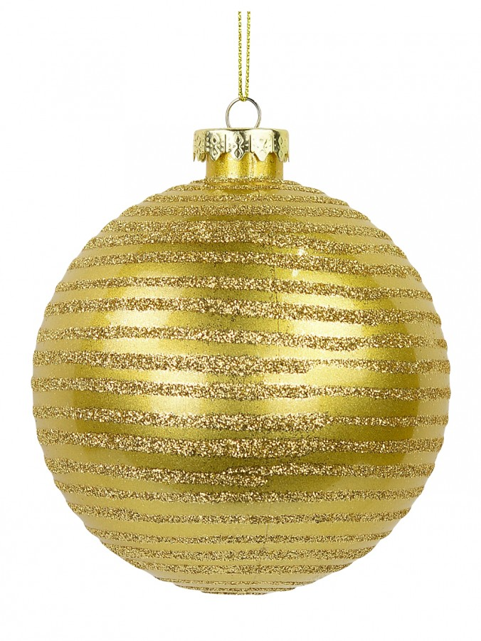 Gold Gloss Bauble with Gold Glitter Lined Design - 10cm