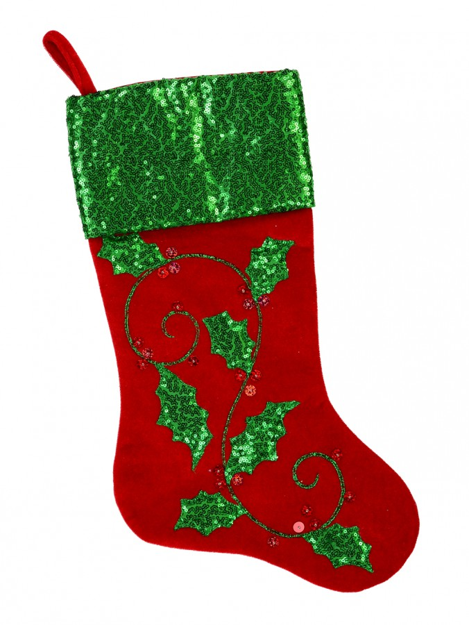 Red Velvet With Sequin Holly Leaf, Berries & Green Sequin Cuff Stocking - 48cm